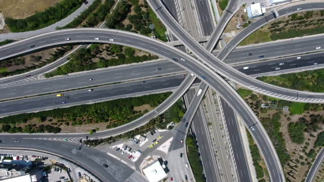 aerial highway junction - direction stock videos & royalty-free footage