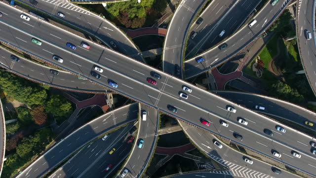 aerial highway junction - motorway junction stock videos & royalty-free footage