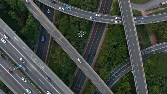 空中高速道路ジャンクション - 方向標識点の映像素材/bロール