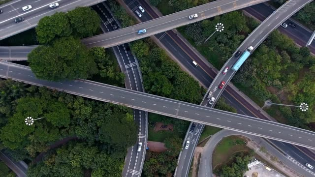 aerial highway junction - transportation stock videos & royalty-free footage