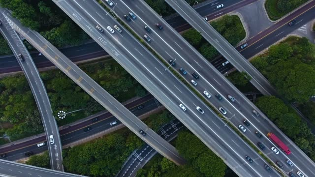 aerial highway junction - motorway stock videos & royalty-free footage