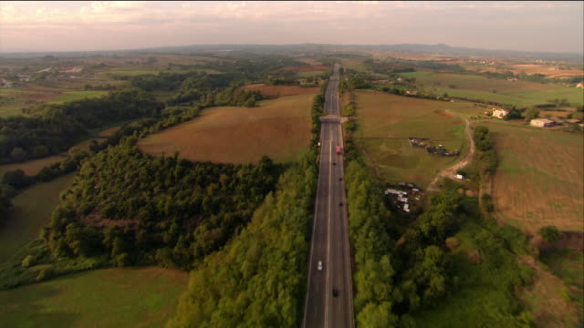 aerial highway outside rome / italy - autostrada video stock e b–roll