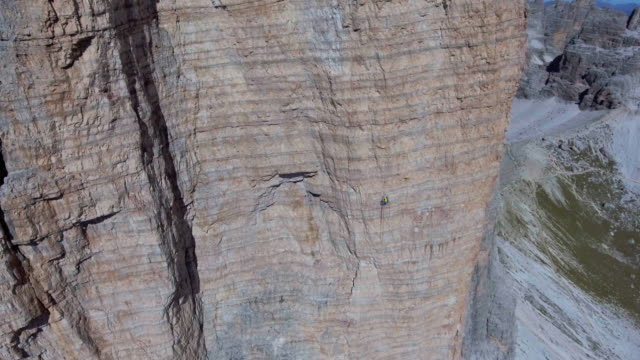 Aerial :Hiking on mountain rock
