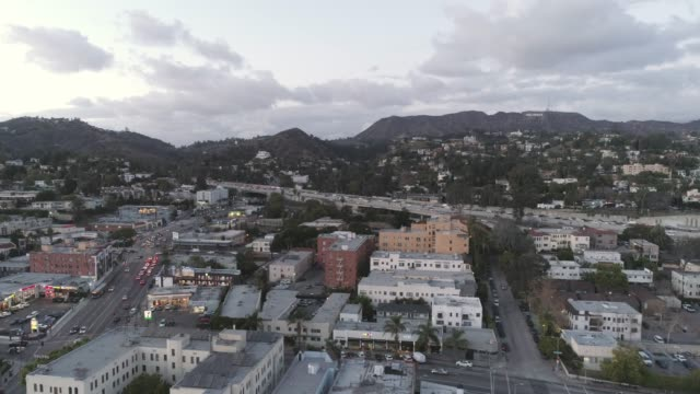 aerial hollywood los angeles - sunset boulevard stock-videos und b-roll-filmmaterial