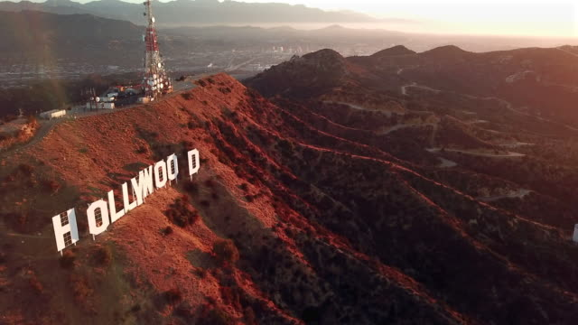 Aerial: Hollywood Sign and Carpet-like Hills