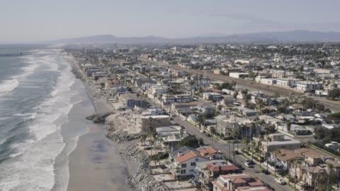 aerial homes along the coast in carlsbad california - carlsbad california stock videos & royalty-free footage