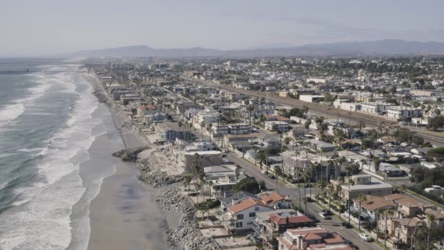 aerial homes along the coast in carlsbad california - carlsbad california stock videos & royalty-free footage