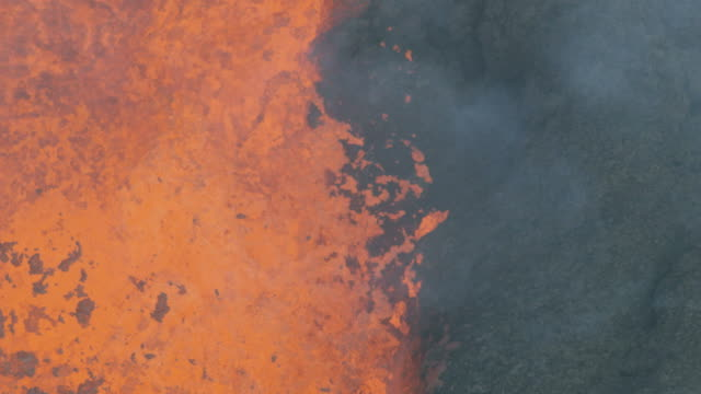 Aerial hot boiling magma toxic gases active volcano