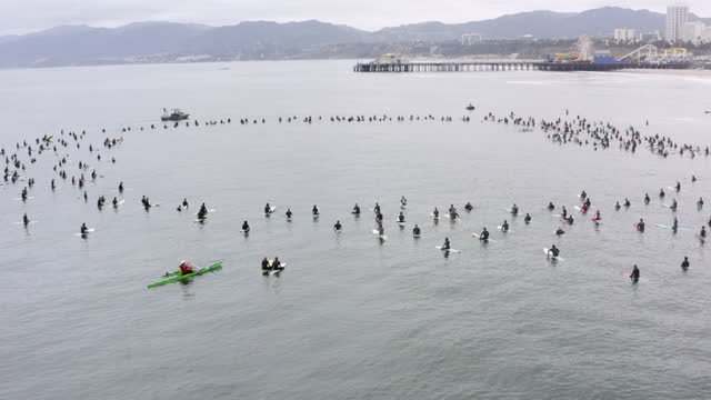 aerial: huge group of surfers sit on surfboards in water in enormous circle protesting death of george floyd - long beach, california - large group of people stock-videos und b-roll-filmmaterial