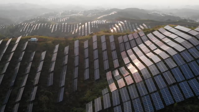 vídeos de stock e filmes b-roll de aerial huge solar farm, china - sustainable resources