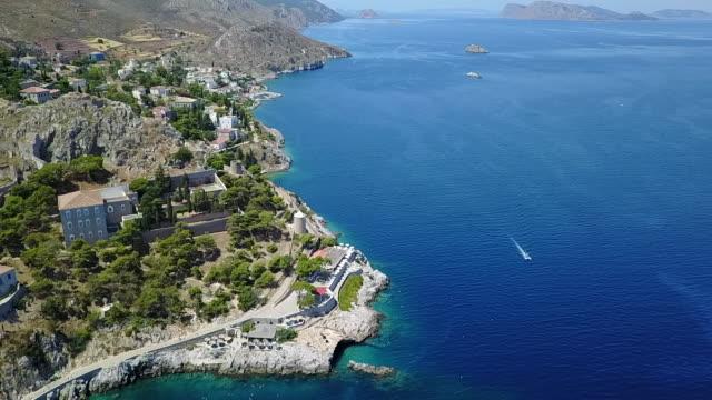 Aerial Hydra Island, Greece.
