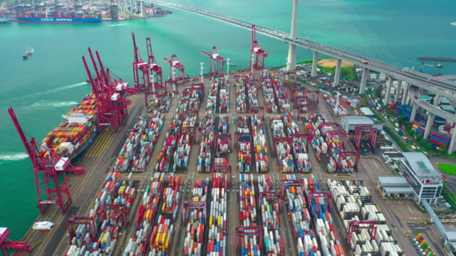 Aerial Hyper Lapse Container Cargo Freight Ship Terminal