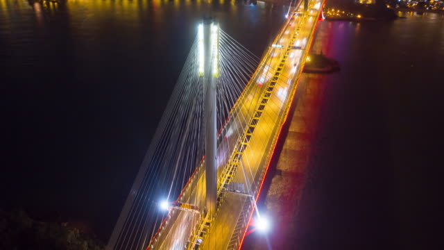 4k aerial hyper lapse of ting kau bridge at night, hong kong - bridge built structure stock videos & royalty-free footage
