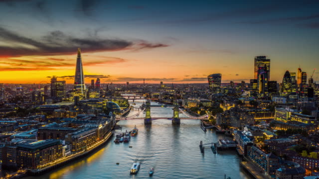 aerial hyperlapse of london city and the tower bridge - aerial view stock videos & royalty-free footage