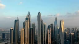 Aerial hyperlapse of skyscrapers in Dubai, U.A.E