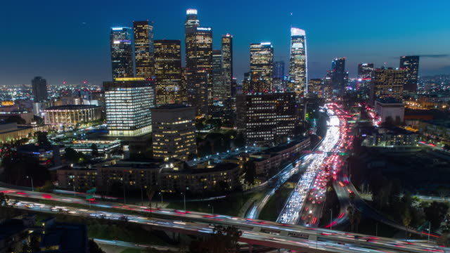 aerial hyper-lapse time-lapse of los angeles traffic at night - los angeles county stock videos & royalty-free footage