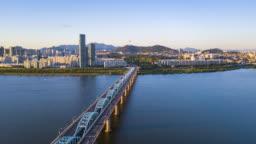Aerial hyperlapse video of Seoul City,South Korea.Timelapse 4k