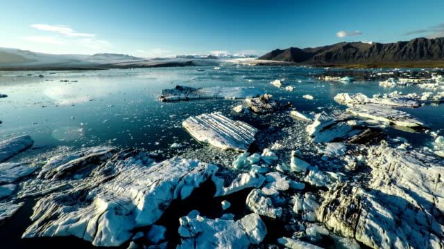 Aerial : Icebergs in Jokulsarlon Lagoon - Iceland
