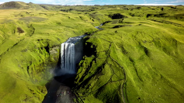 Aerial Iceland Landscape with Skogafoss Waterfall
