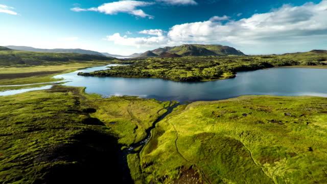 Luchtfoto Icland landschap met Lake - Snaefellsnes