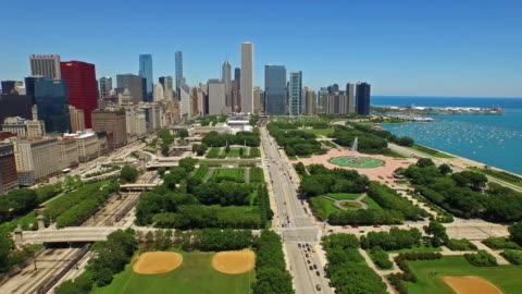 aerial illinois chicago - illinois stock videos & royalty-free footage