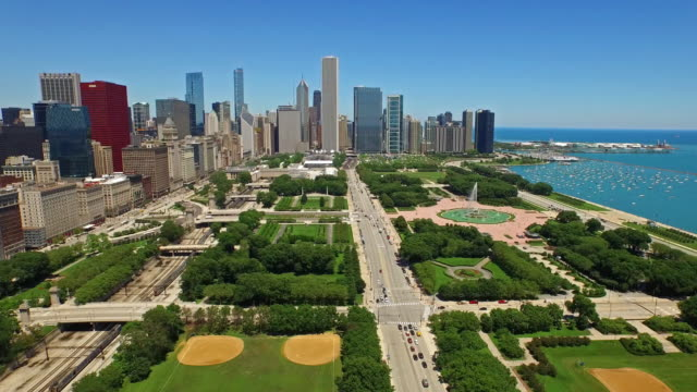 aerial illinois chicago - chicago illinois stock videos & royalty-free footage