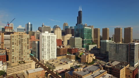 aerial illinois chicago - moving up stock videos & royalty-free footage