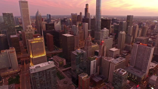 aerial illinois chicago - high up stock videos & royalty-free footage