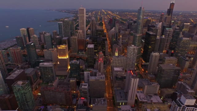 aerial illinois chicago - twilight stock videos & royalty-free footage