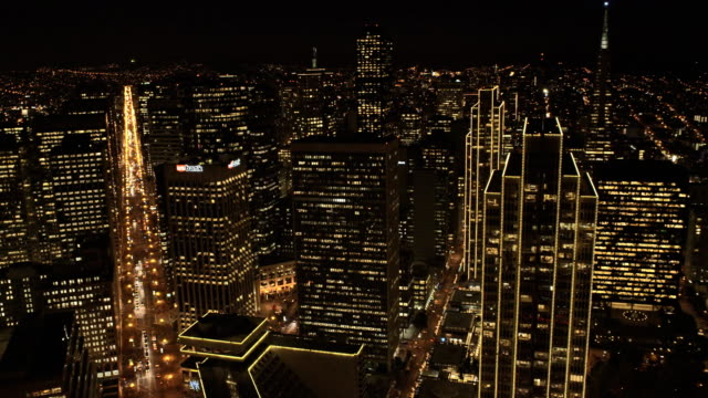 aerial illuminated cityscape view san francisco usa - office building exterior stock videos and b-roll footage