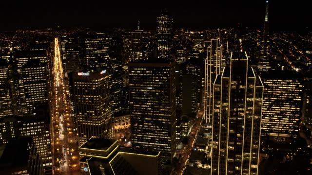 Aerial illuminated cityscape view San Francisco USA