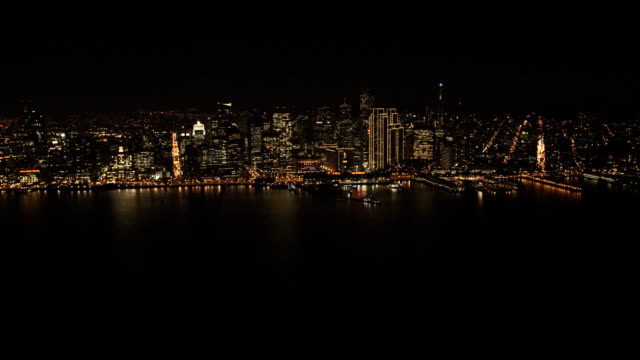 aerial illuminated night view port of san francisco - north pacific stock videos & royalty-free footage