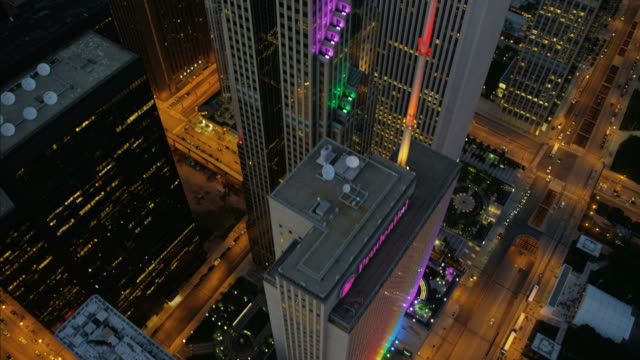 aerial illuminated night view prudential plaza chicago city - two prudential plaza stock videos & royalty-free footage