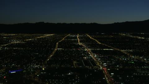 aerial illuminated night view residential suburbs las vegas - las vegas stock videos & royalty-free footage