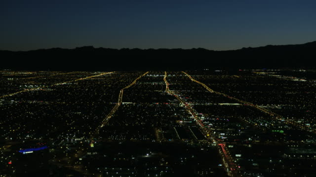 aerial illuminated night view residential suburbs las vegas - las vegas stock-videos und b-roll-filmmaterial