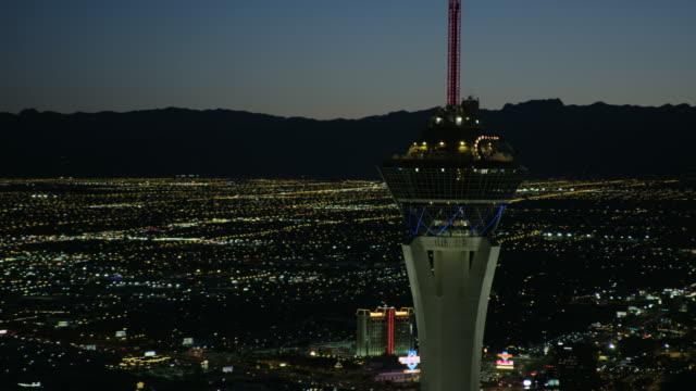 Aerial illuminated night view Stratosphere Tower Las Vegas