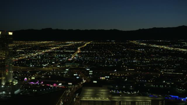 Aerial illuminated night view Trump Tower Las Vegas
