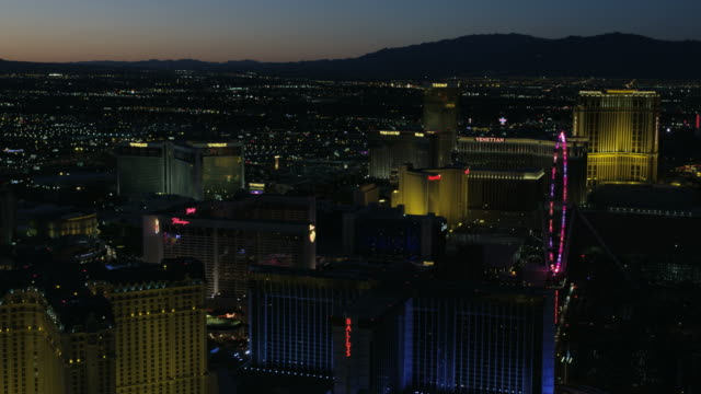 Aerial illuminated sunset view Las Vegas Ferris Wheel