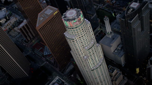 aerial illuminated us bank tower downtown los angeles - us bank tower stock videos & royalty-free footage