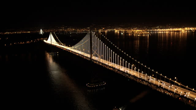 aerial illuminated vehicle traffic bay bridge san francisco - san francisco oakland bay bridge stock videos and b-roll footage