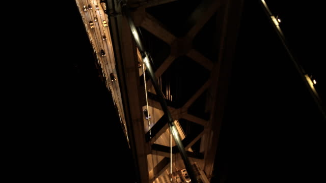 Aerial illuminated vehicle traffic Bay Bridge San Francisco