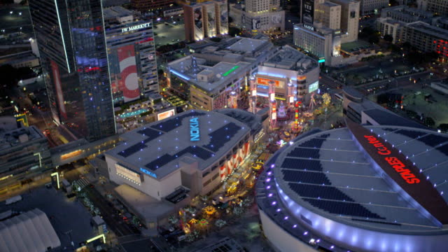 aerial illuminated vertical view staples centre los angeles - staples center video stock e b–roll