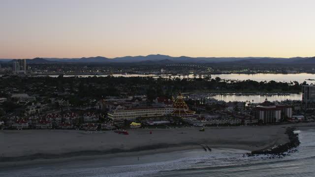 aerial illuminated view coronado beach hotel san diego - harbour stock videos & royalty-free footage