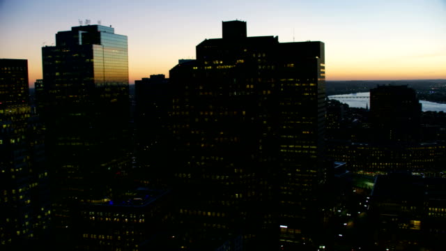 aerial illuminated view downtown financial district boston - river charles stock videos & royalty-free footage