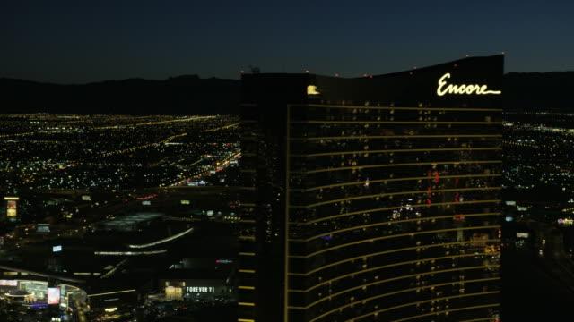 Aerial illuminated view Downtown suburbs casinos Las Vegas