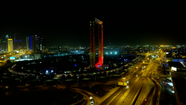 Aerial illuminated view Dubai Frame Zabeel Park UAE