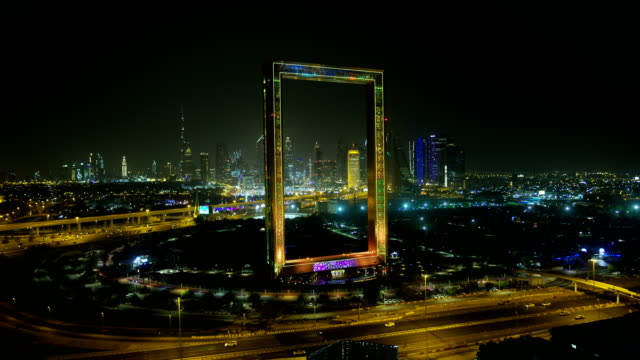 aerial illuminated view dubai frame zabeel park uae - dubai stock videos & royalty-free footage