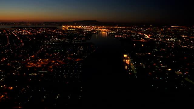 aerial illuminated view fishermans wharf san francisco - oakland california stock videos & royalty-free footage