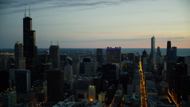 aerial illuminated view of city of chicago illinois - two prudential plaza stock videos & royalty-free footage