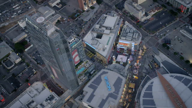 aerial illuminated view staples center downtown los angeles - staples centre stock videos & royalty-free footage